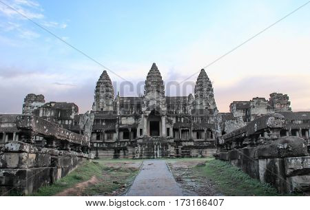 Angkor Wat part of Khmer temple complex popular among tourists ancient landmark and place of worship in Southeast Asia. Siem Reap Cambodia.