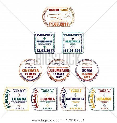 Stylised Passport Stamps Of The Central African Republic, Democratic Republic Of Congo, Republic Of