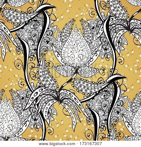 Oriental classic yellow and golden pattern. Abstract background.