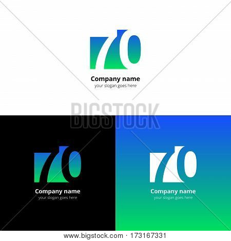 70 logo icon flat and vector design template. Monogram years numbers seven and zero. Logotype seventy with blue-green gradient color. Creative vision concept logo, elements, sign, symbol.