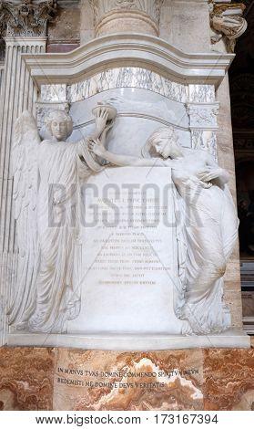ROME, ITALY - SEPTEMBER 02: Monument of Prince Agostino Chigi in Church of Santa Maria del Popolo, Rome, Italy on September 02, 2016.