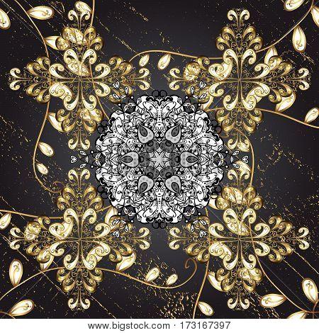 Stylish graphic pattern. Golden elements on blue background. Background. Sketch baroque damask. Floral pattern.