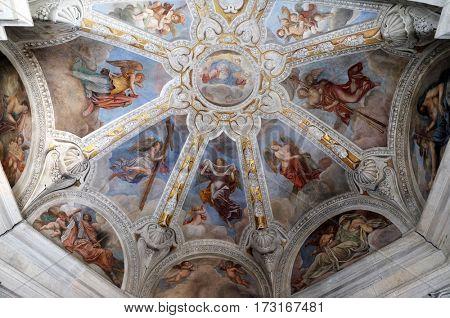 ROME, ITALY - SEPTEMBER 02: Fresco on the ceiling of Cybo-Soderini Chapel in Church of Santa Maria del Popolo, Rome, Italy on September 02, 2016.