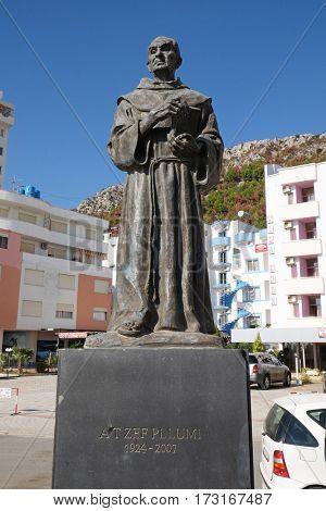 BERAT, ALBANIA - SEPTEMBER 30, 2016: Memorial of At Zef Pllumi Albanian Franciscan priest and memoirist in Shengjin, Albania on September 30, 2016.