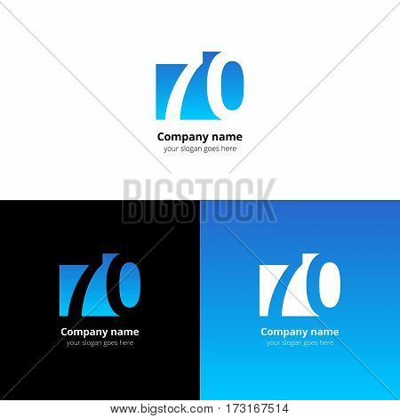 70 logo icon flat and vector design template. Monogram years numbers seven and zero. Logotype seventy with light blue gradient color. Creative vision concept logo, elements, sign, symbol.