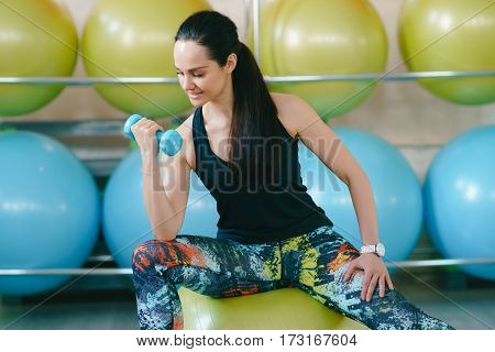Fitness Woman Standing With Dumbbells Back Sport