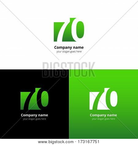70 logo icon flat and vector design template. Monogram years numbers seven and zero. Logotype seventy with green gradient color. Creative vision concept logo, elements, sign, symbol.