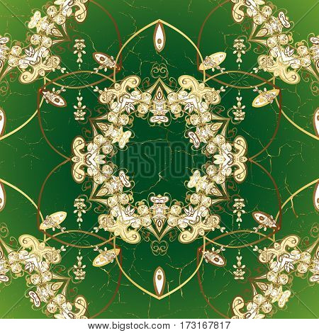 Christmas snowflake new year. Golden pattern on green background with golden elements.