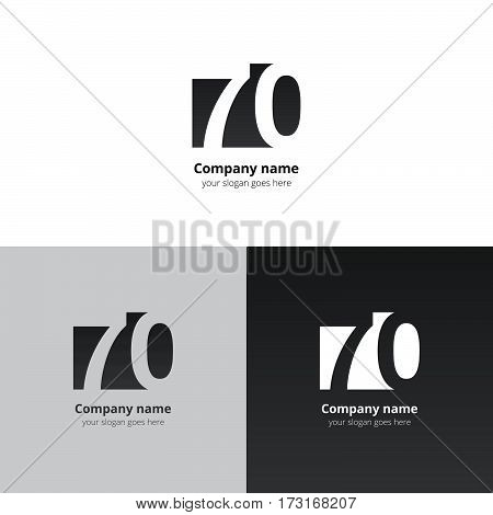 70 logo icon flat and vector design template. Monogram years numbers seven and zero. Logotype seventy with grey-black gradient color. Creative vision concept logo, elements, sign, symbol.