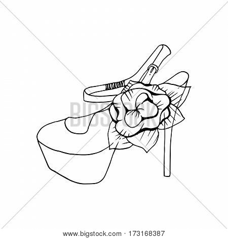 High-heeled shoes for woman. Fashion footwear artwork. Isolated clipart for coloring book pages design
