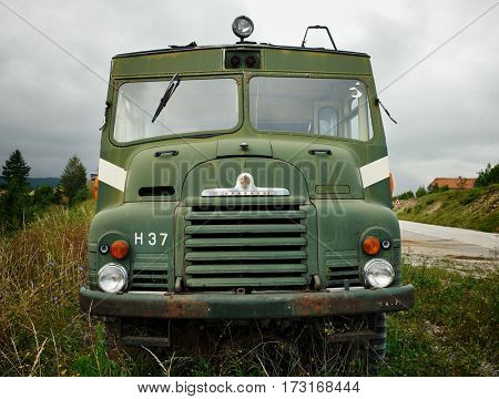 PLJEVLJA, MONTENEGRO - AUGUST 02, 2016: the GREEN GODDESS is the colloquial name for the BEDFORD RLHZ SELF PROPELLED PUMP, a fire engine design based on a Bedford RL series British military truck