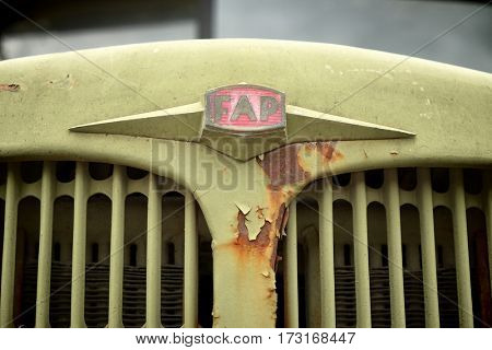 PLJEVLJA, MONTENEGRO - AUGUST 02, 2016: logo FAP (Fabrika Automobila Priboj) a Serbian automotive manufacturer of trucks and buses founded in 1952
