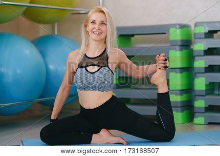 Fitness Girl Stretching Yoga Gym