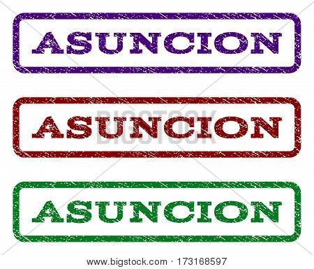 Asuncion watermark stamp. Text tag inside rounded rectangle with grunge design style. Vector variants are indigo blue red green ink colors. Rubber seal stamp with dust texture.