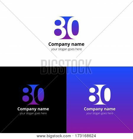 80 logo icon flat and vector design template. Monogram years numbers eight and zero. Logotype eighty with violet-pink gradient color. Creative vision concept logo, elements, sign, symbol.