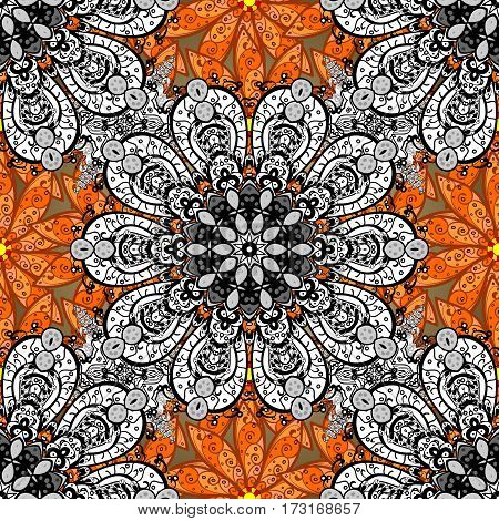 Raster. Orange floral background with white mandalas elements.
