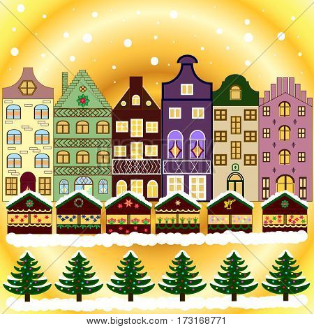 Greeting card. Village in Christmas banner on background with snow and snowflakes.