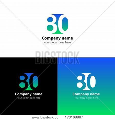 80 logo icon flat and vector design template. Monogram years numbers eight and zero. Logotype eighty with green-blue gradient color. Creative vision concept logo, elements, sign, symbol.