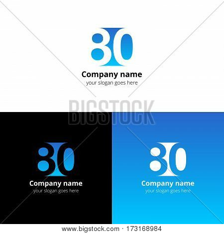 80 logo icon flat and vector design template. Monogram years numbers eight and zero. Logotype eighty with light blue gradient color. Creative vision concept logo, elements, sign, symbol.