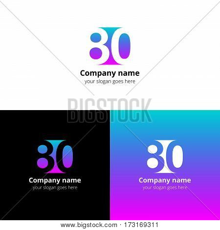80 logo icon flat and vector design template. Monogram years numbers eight and zero. Logotype eighty with gren-pink gradient color. Creative vision concept logo, elements, sign, symbol.