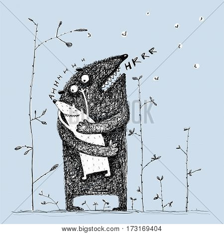 Lovely parenting monster character loving a sweet kid, feeling love. Vector illustration