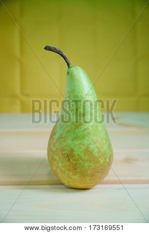 Pears On A Rustic Wooden Kitchen Table