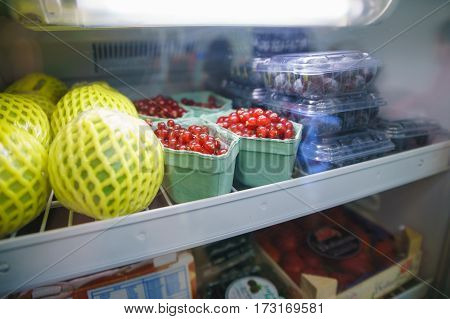 Fruits In A Refrigerator