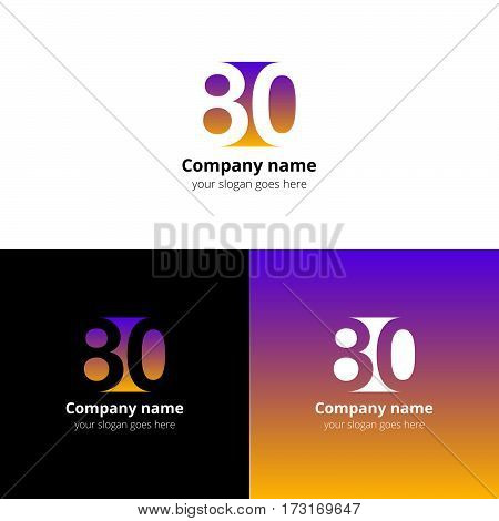 80 logo icon flat and vector design template. Monogram years numbers eight and zero. Logotype eighty with violet-yellow gradient color. Creative vision concept logo, elements, sign, symbol.