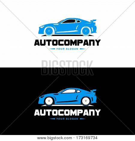 Car Logo Vector Illustration. Auto Company logotype design concept with blue color sports car silhouette. High speed automobile illustration on black and white background.