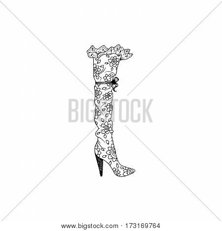 High-heeled shoe for woman. Fashion footwear artwork in shoe style pattern fill. Isolated clipart for coloring book pages design
