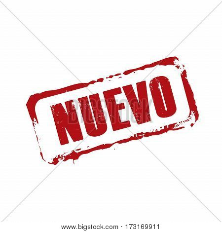 Nuevo red rubber stamp. Vector Illustration. Spanish language.