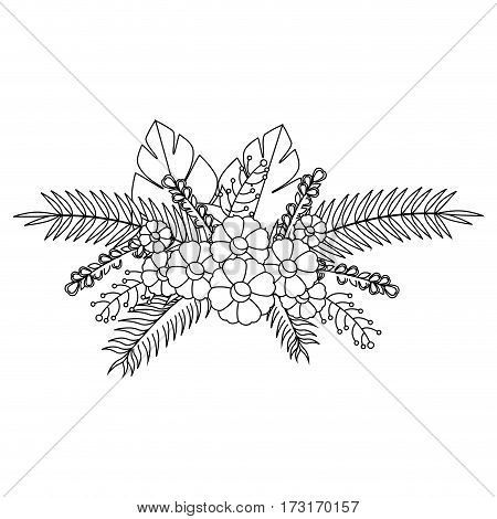 monochrome contour with flowers bunch floral design with leaves vector illustration