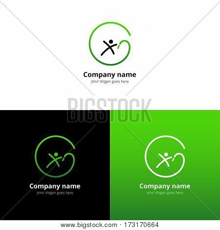 Gymnastics with ribbon vector logo with flat trend green gradient design template Isolated on a white and black background. Logotype for sport or acrobatic company.