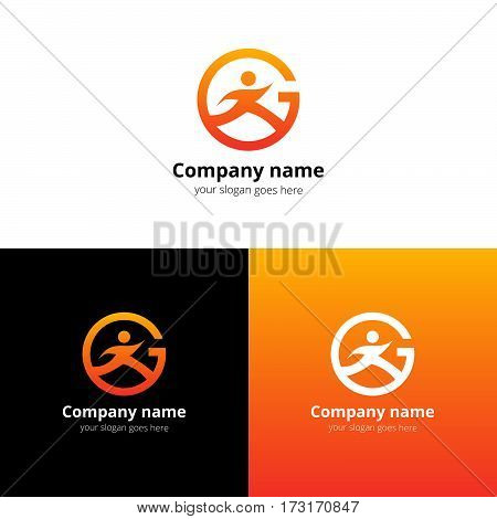 Sport logo, icon, emblem flat and vector design template. Trend orange gradient color on white and black background. Symbol sport with letter G vector elements.