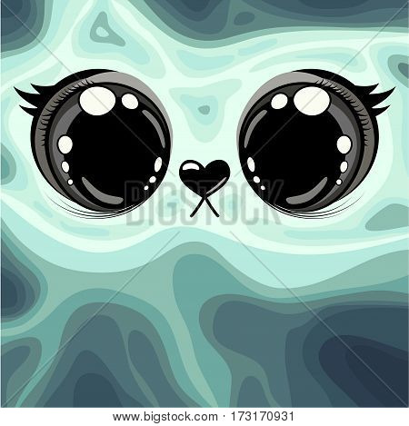 illustration. Shows large animal's eyes and muzzle with the nose in the form of a heart. Background illustration azure color transition from light to dark shades.