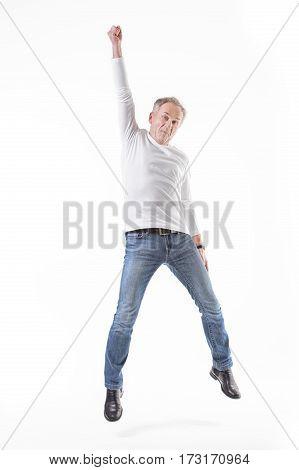 Happy Senior Man Jumping.
