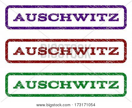 Auschwitz watermark stamp. Text caption inside rounded rectangle with grunge design style. Vector variants are indigo blue red green ink colors. Rubber seal stamp with unclean texture.