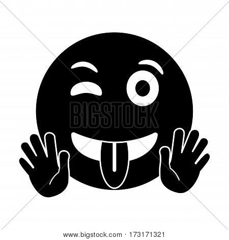 eyewink and tongue emoticon style pictogram vector illustration eps 10