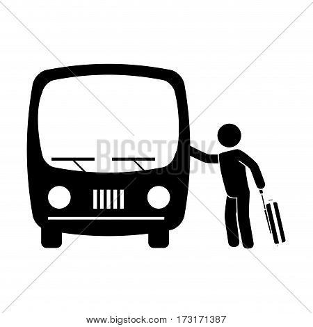 monochrome pictogram with man and suitcase taking a bus vector illustration