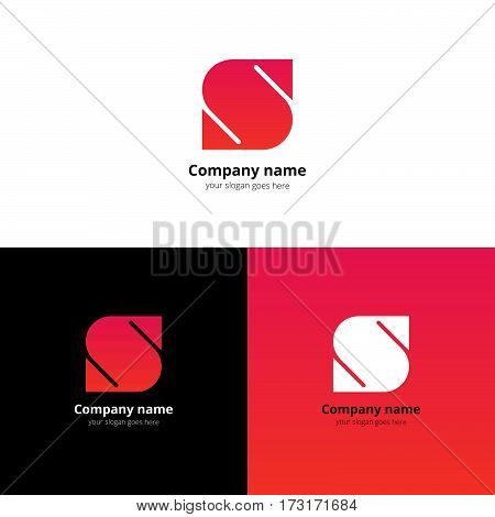 Letter S logo icon flat and vector design template. Trend pink-red gradient color on white and black background. Symbol S in vector elements