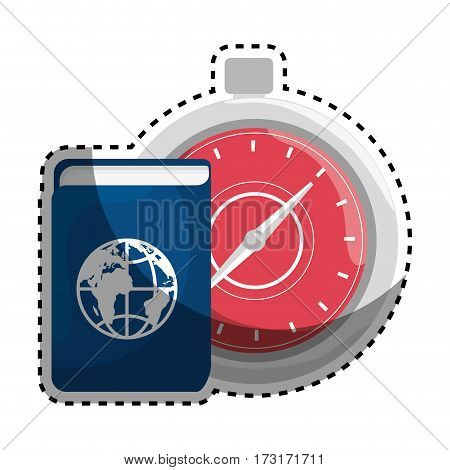 sticker color silhouette with passport and chronometer vector illustration