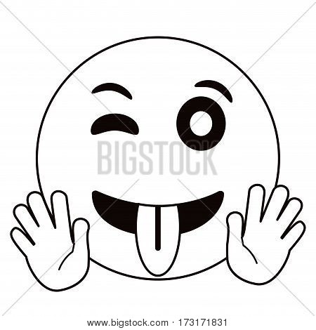 eyewink and tongue emoticon style thin line vector illustration eps 10
