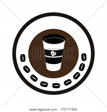 color circular frame with glass of cappuccino vector illustration