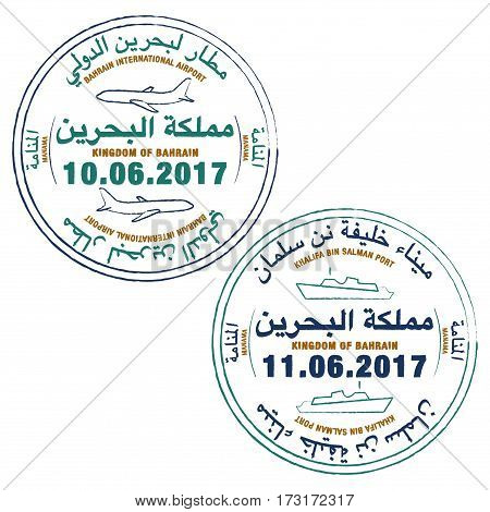 Stylized Passport Stamps Of Bahrain In Vector Format.