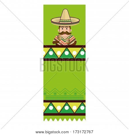 colorful banner with man with moustache and maracas vector illustration