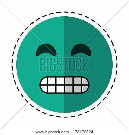 cartoon grimacing face emoticon vector illustration eps 10