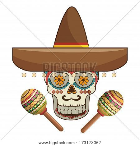 decorative ornamental sugar skull with mexican hat and maracas vector illustration