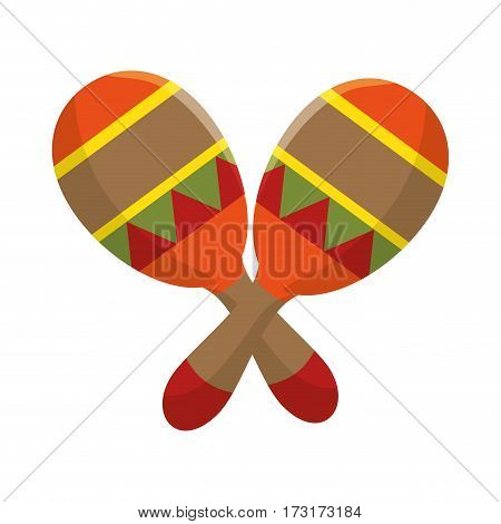 colorful pair mexican maraca instrument icon design vector illustration