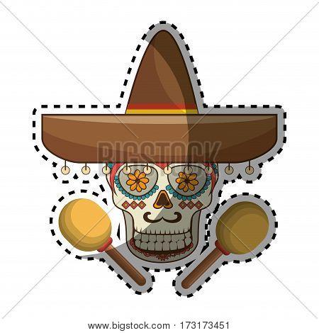 sticker decorative ornamental sugar skull with mexican hat and maracas vector illustration