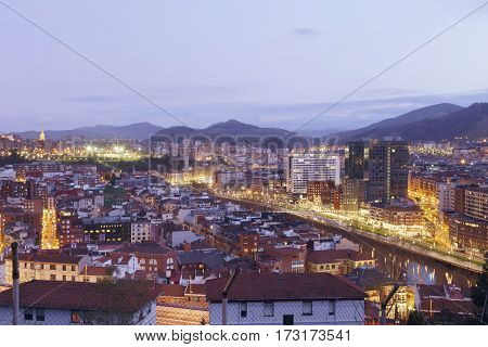 The City Of Bilbao At Sunset.